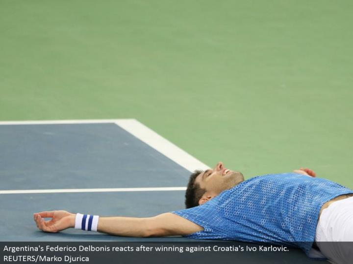Argentina's Federico Delbonis responds in the wake of winning against Croatia's Ivo Karlovic. REUTERS/Marko Djurica