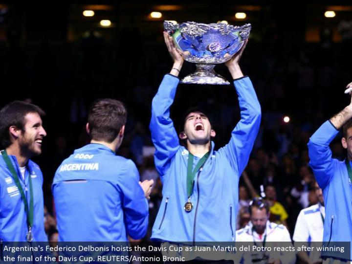 Argentina's Federico Delbonis lifts the Davis Cup as Juan Martin del Potro responds in the wake of winning the last of the Davis Cup. REUTERS/Antonio Bronic