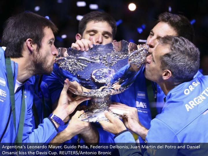 Argentina's Leonardo Mayer, Guido Pella, Federico Delbonis, Juan Martin del Potro and Daniel Orsanic kiss the Davis Cup. REUTERS/Antonio Bronic