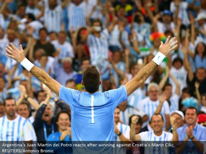 Argentina's Juan Martin del Potro responds in the wake of winning against Croatia's Marin Cilic. REUTERS/Antonio Bronic