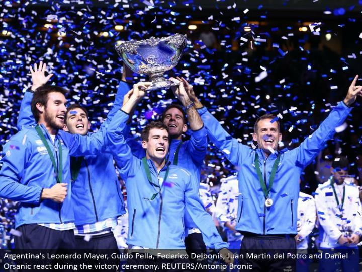 Argentina's Leonardo Mayer, Guido Pella, Federico Delbonis, Juan Martin del Potro and Daniel Orsanic respond amid the triumph service. REUTERS/Antonio Bronic