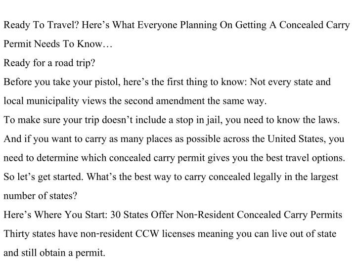 Ready To Travel? Here's What Everyone Planning On Getting A Concealed Carry Permit Needs To Know…