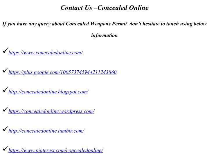 Contact Us Concealed Online
