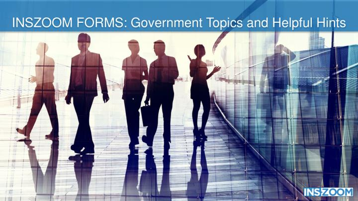 INSZOOM FORMS: Government Topics and Helpful Hints
