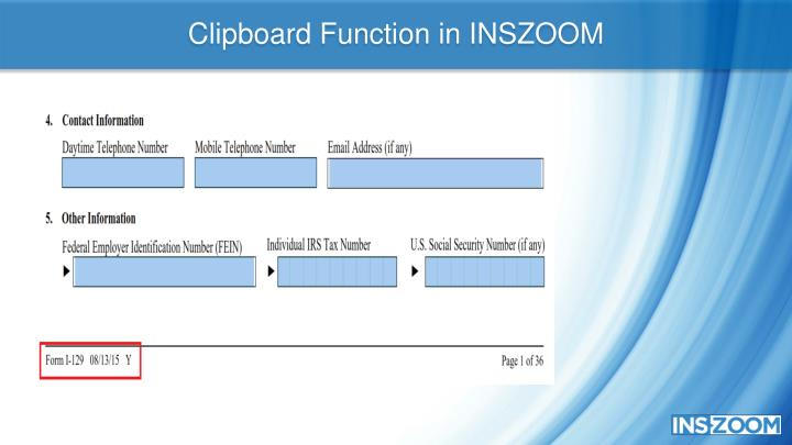 Clipboard Function in INSZOOM
