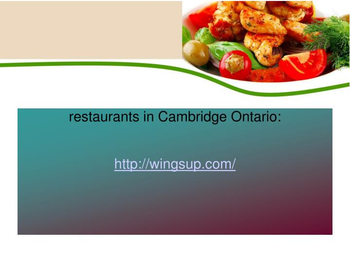 restaurants in Cambridge Ontario: