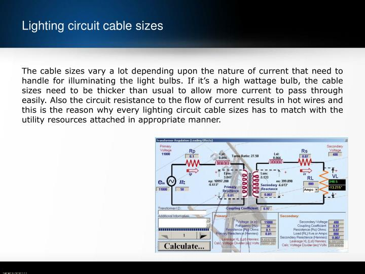 Lighting circuit cable sizes1