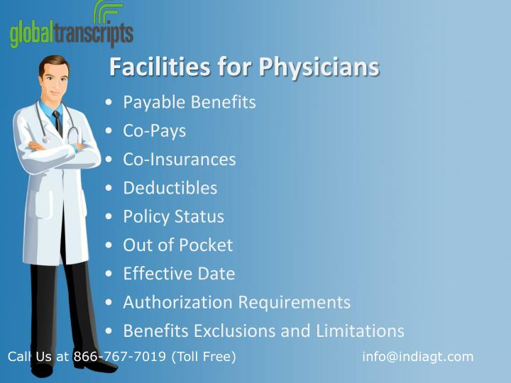Facilities for Physicians