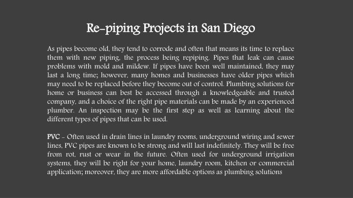 Re-piping Projects in San