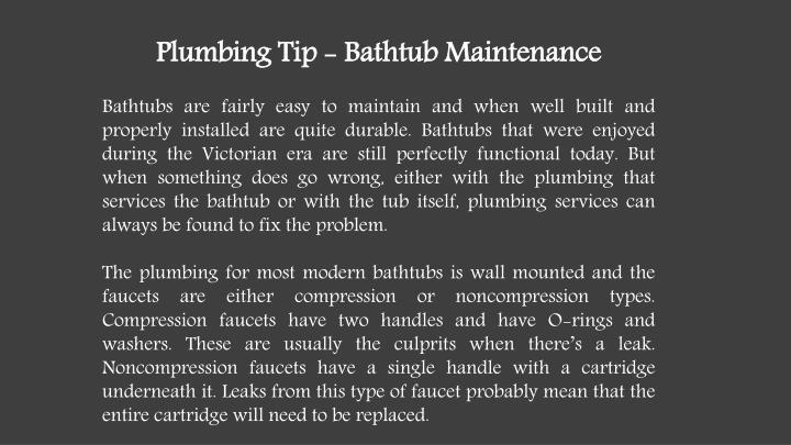Plumbing Tip - Bathtub