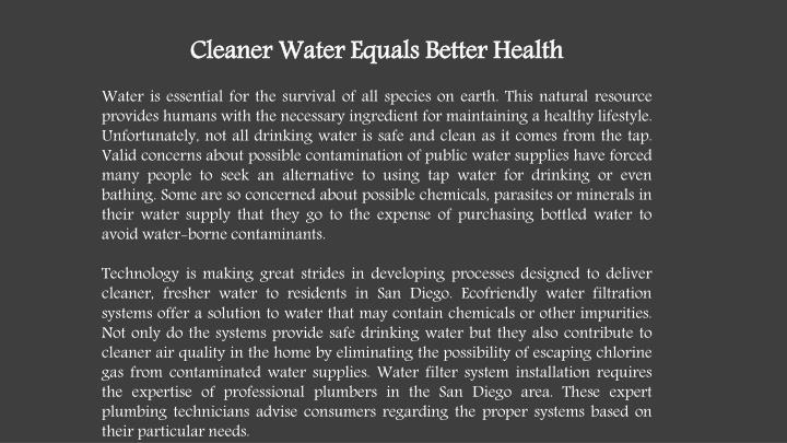 Cleaner Water Equals Better Health