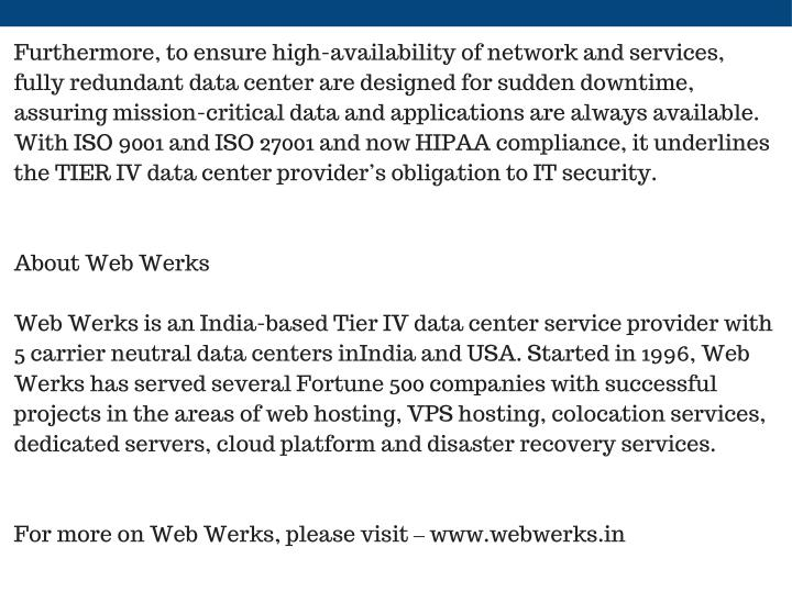Furthermore, to ensure high-availability of network and services,