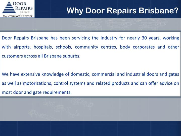 Why Door Repairs Brisbane?