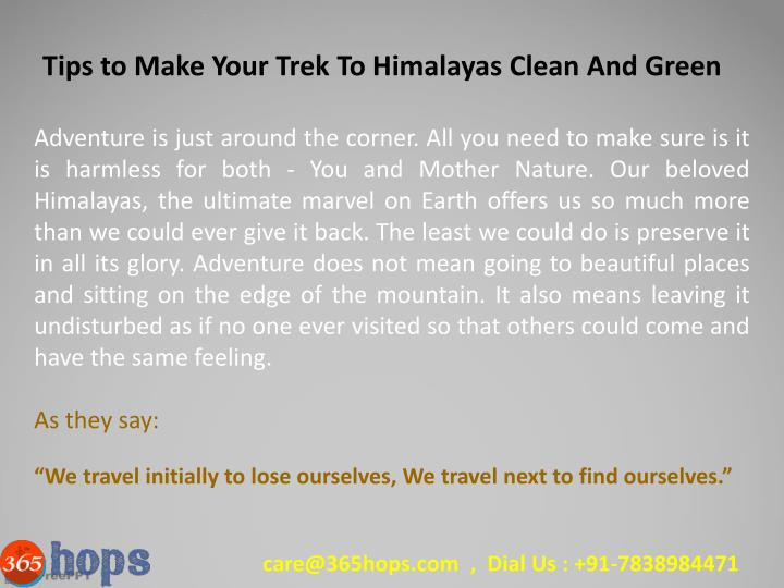 Tips to Make Your Trek To Himalayas Clean And Green