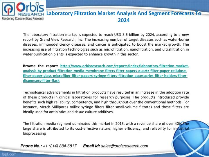 Laboratory filtration market analysis and segment forecasts to 20241