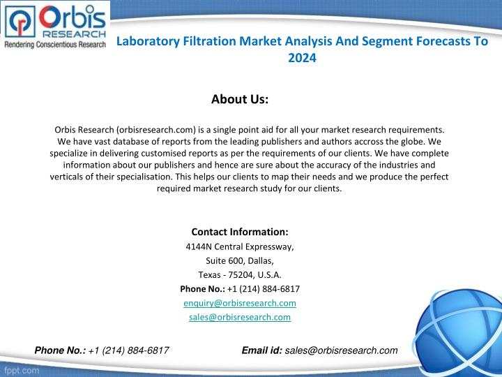 Laboratory Filtration Market Analysis And Segment Forecasts To 2024