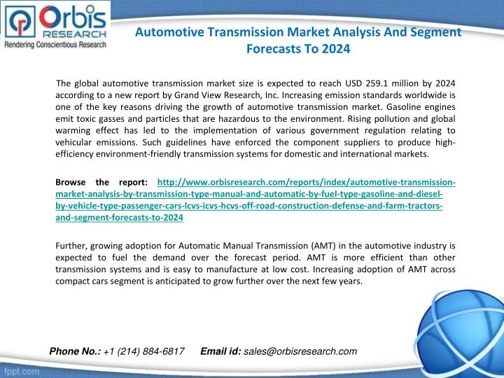 Automotive Transmission Market Analysis And Segment Forecasts To 2024