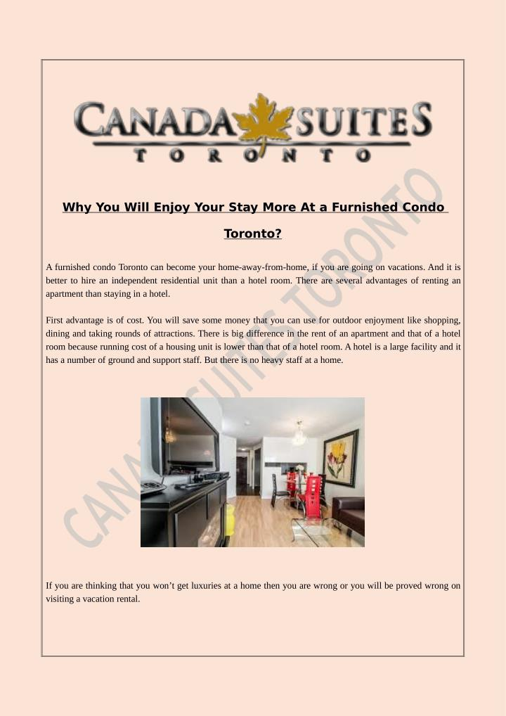 Why You Will Enjoy Your Stay More At a Furnished Condo