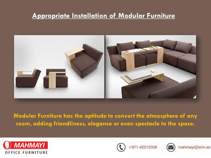 Appropriate Installation of Modular Furniture