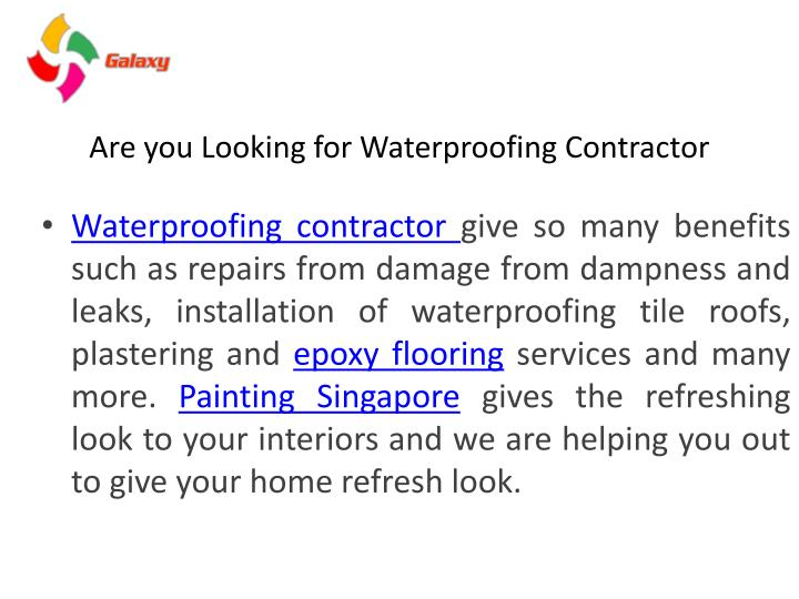 Are you looking for waterproofing contractor