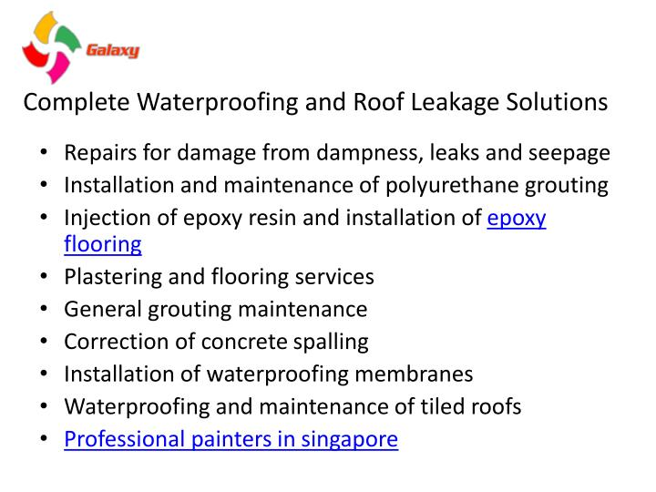 Complete waterproofing and roof leakage solutions