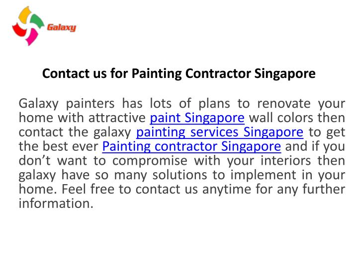 Contact us for p ainting contractor singapore