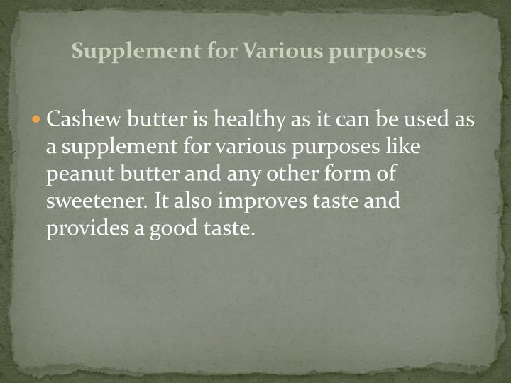 Supplement for Various purposes