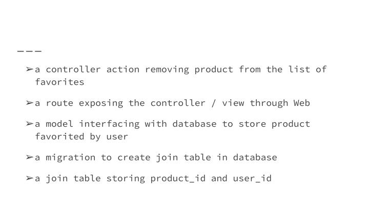 a controller action removing product from the list of favorites