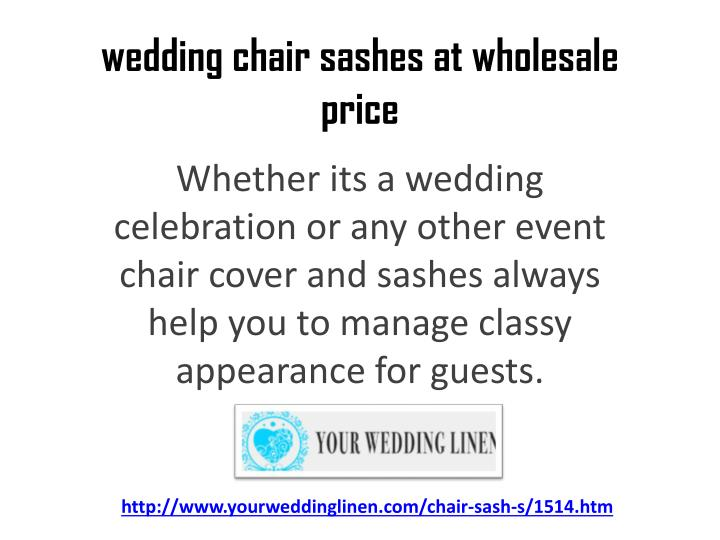 Wedding chair sashes at wholesale