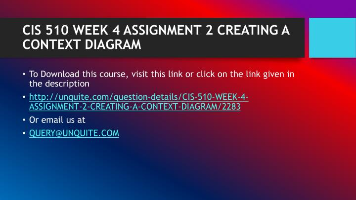 CIS 510 WEEK 4 ASSIGNMENT 2 CREATING A CONTEXT DIAGRAM