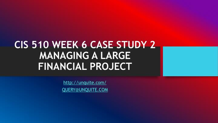 cis 510 week 6 case study 2 managing a large financial project