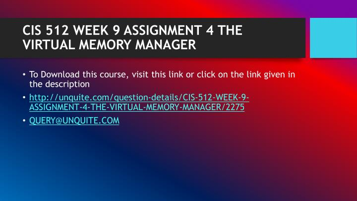 Cis 512 week 9 assignment 4 the virtual memory manager1