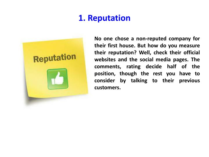 1. Reputation
