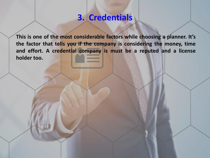 3.  Credentials