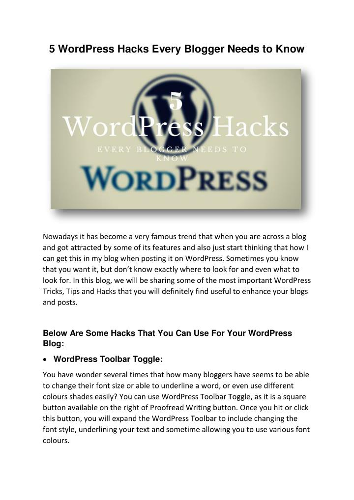 5 WordPress Hacks Every Blogger Needs to Know