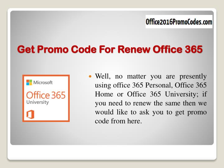 Get promo code for renew office 365