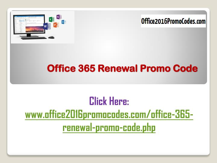 Office 365 renewal promo code