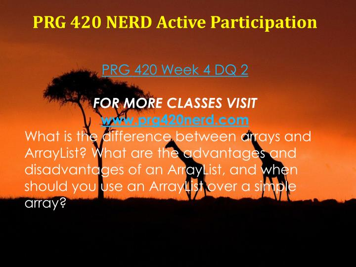 PRG 420 NERD Active Participation