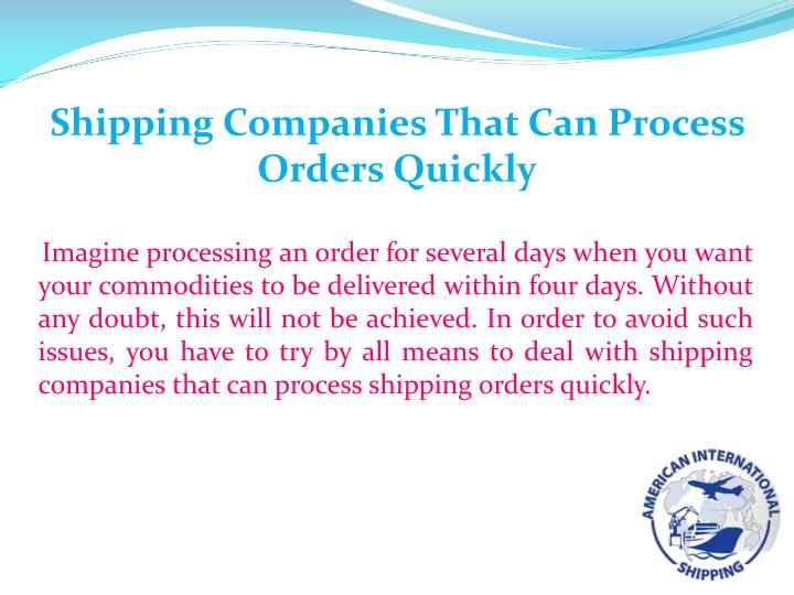 Shipping Companies That Can Process Orders