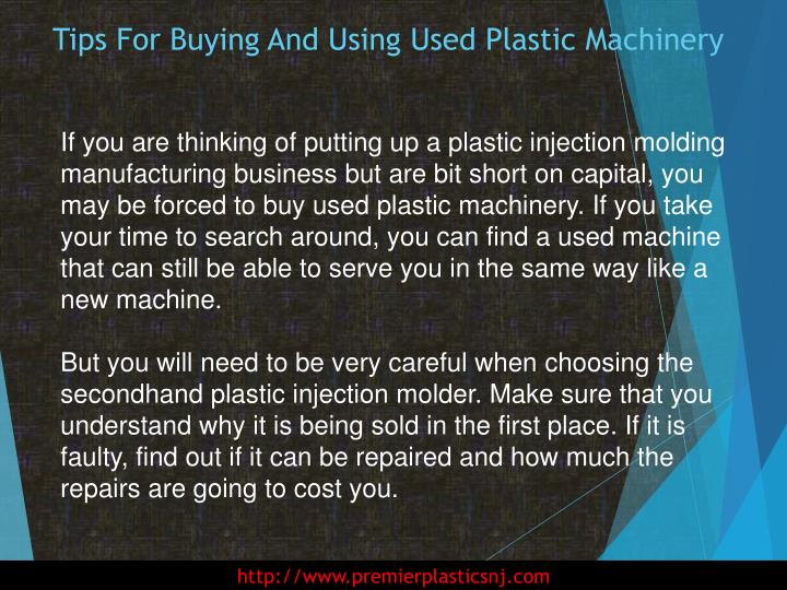 Tips for buying and using used plastic machinery1