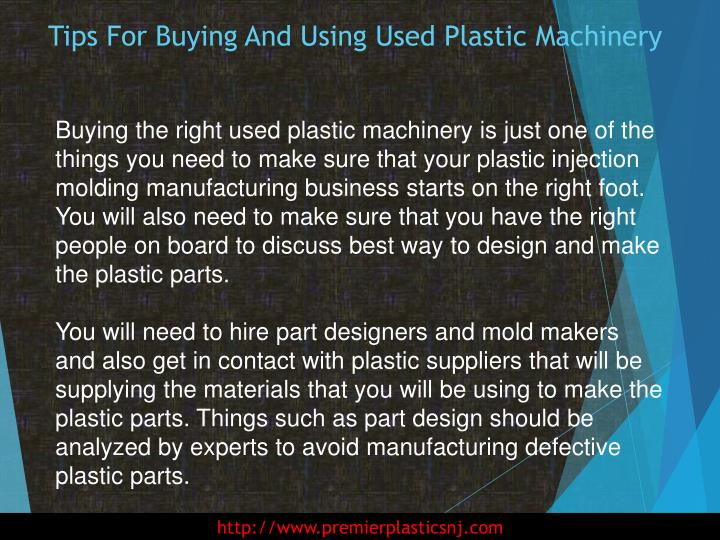 Tips for buying and using used plastic machinery2