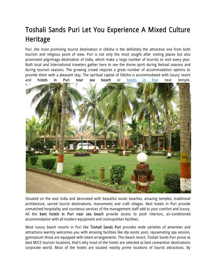 Toshali Sands Puri Let You Experience A Mixed Culture