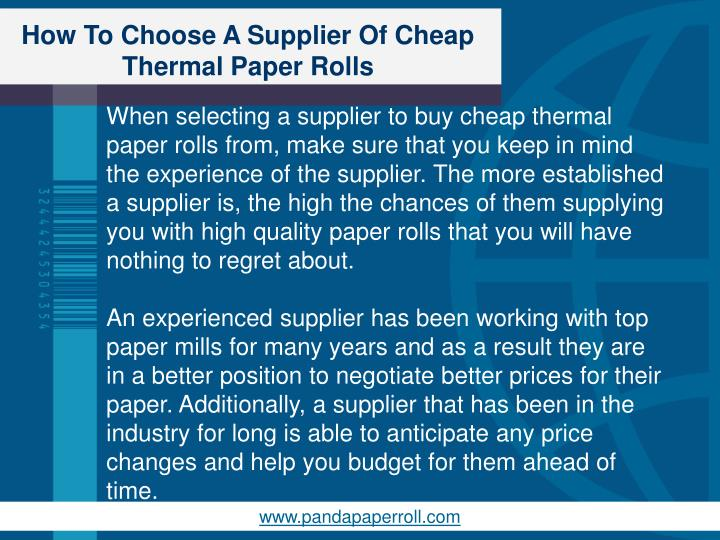How To Choose A Supplier Of Cheap Thermal Paper Rolls