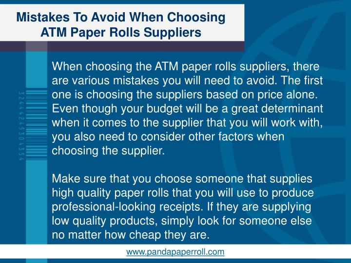 Mistakes to avoid when choosing atm paper rolls suppliers2