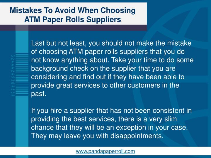 Mistakes To Avoid When Choosing ATM Paper Rolls Suppliers