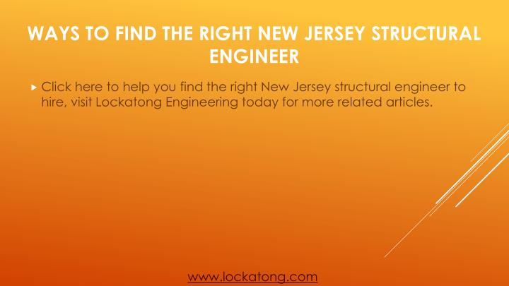 Click here to help you find the right New Jersey structural engineer to hire, visit