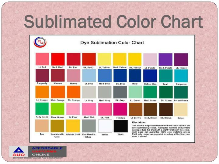 Sublimated Color Chart