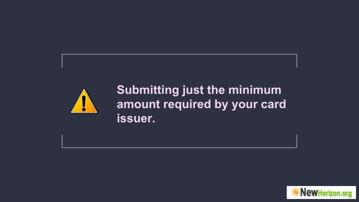 Submitting just the minimum
