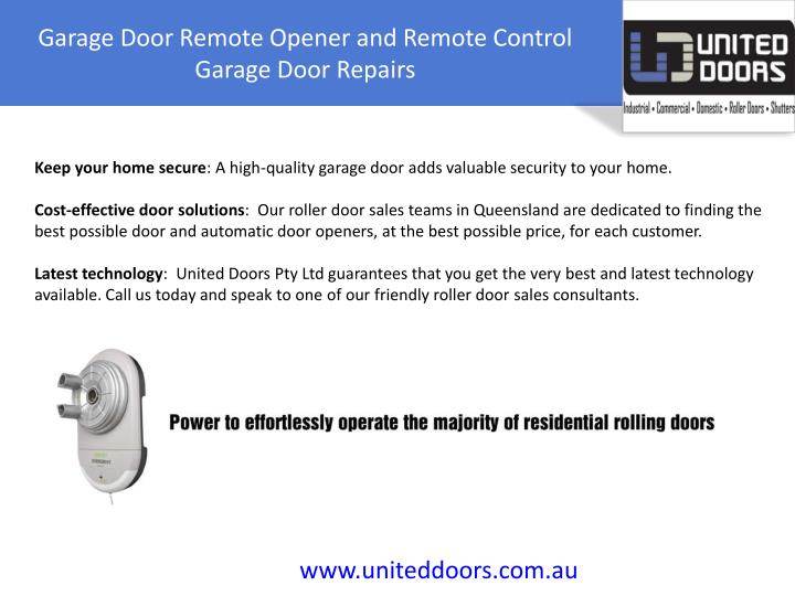 Garage Door Remote Opener and Remote Control Garage Door Repairs