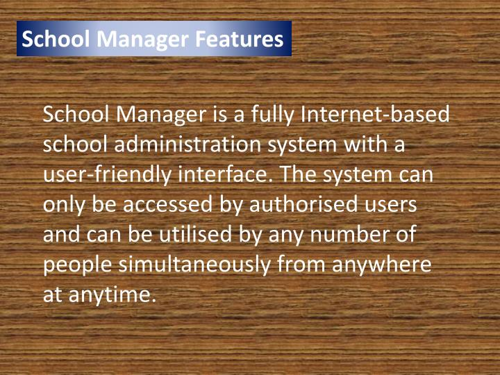 School Manager Features